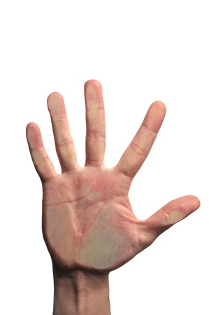 hand pressing the glass isolated on a white