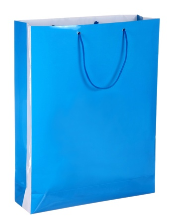blue shopping paper bag isolated on white photo