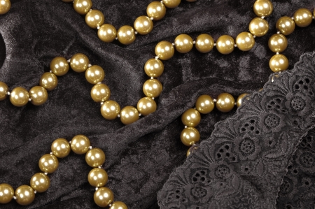 pearl necklace on black velvet photo