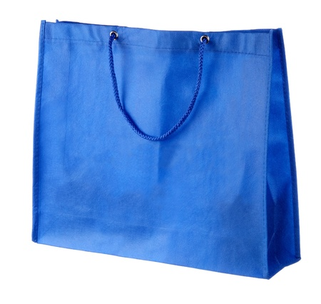 blue tissue shopping bag isolated on white  photo