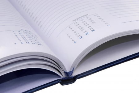 view of calendar in opened notebook ogranizer photo