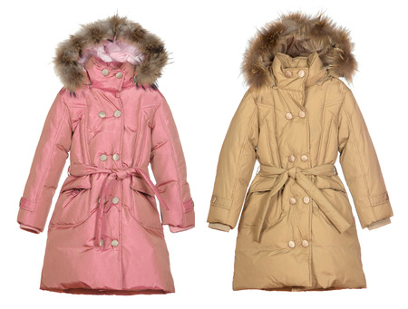 pink and beige female winter coats isolated on white