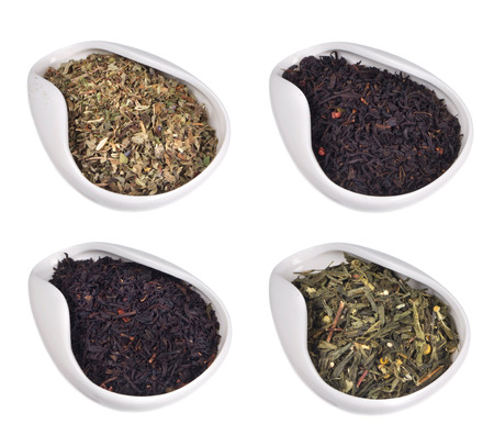 set of different teas on white background Stock Photo - 25725988