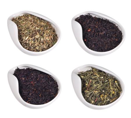 set of different teas on white background Stock Photo - 25725988
