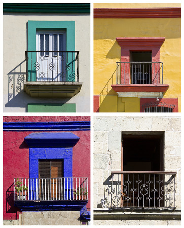 set of colorful balconies in Oaxaca, Mexico photo