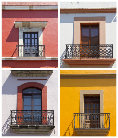 set of old balconies in Oaxaca, Mexico photo