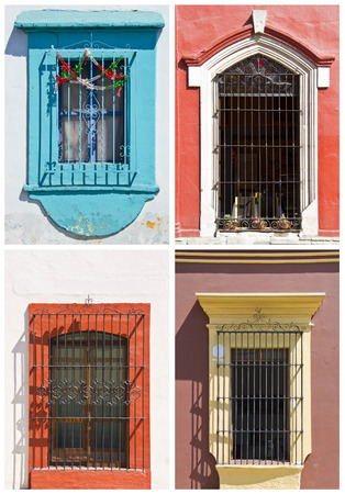 set of old windows in Oaxaca, Mexico photo