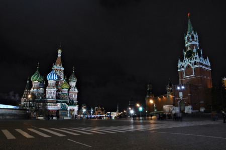 Night view of the Red Square in Moscow, Russia photo