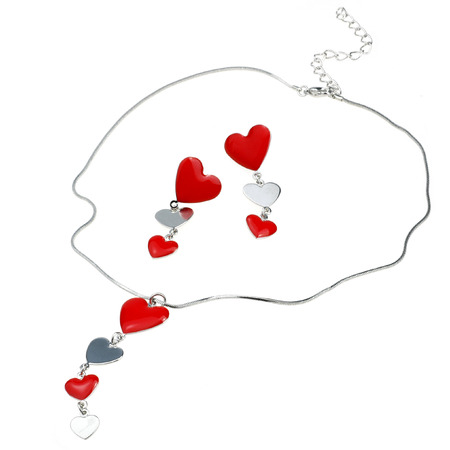 ear rings: heart shape pendant and ear rings isolated on white