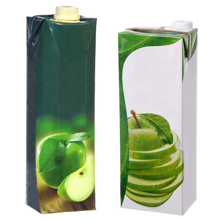 apple juice cartons with screw cap Stock Photo