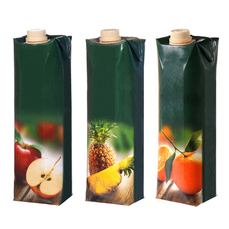 different juices cartons with screw cap Stock Photo