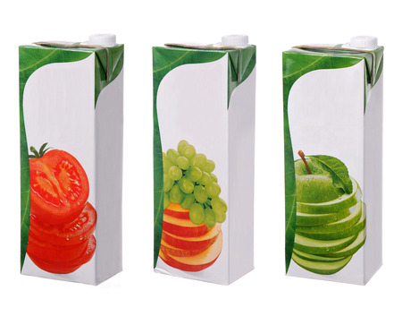 different juices packs isolated on white photo