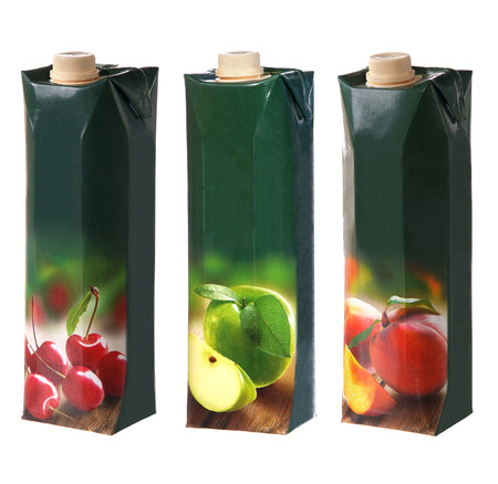 different juices packs with screw cap Stock Photo