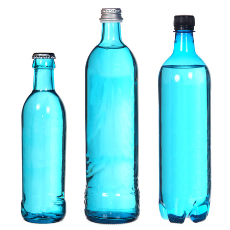 set of blue bottles isolated on white  photo