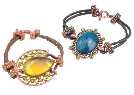 Beautiful bracelets isolated on white background photo