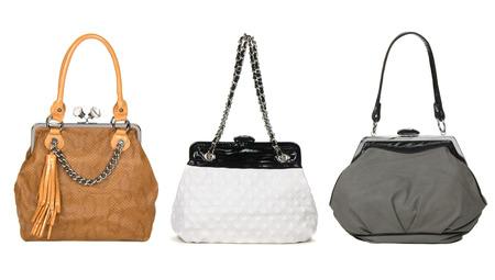set of pretty women bags on white background photo