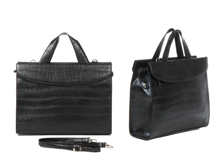 personal shopper: two views of black briefcase on white background