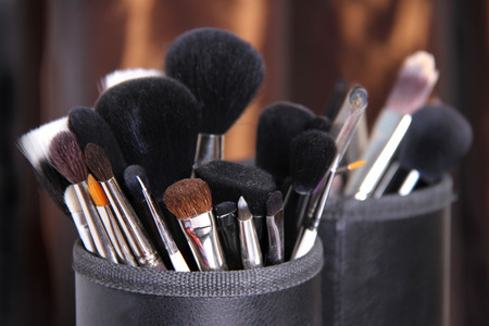 Bunch of professional makeup brushes Stock Photo