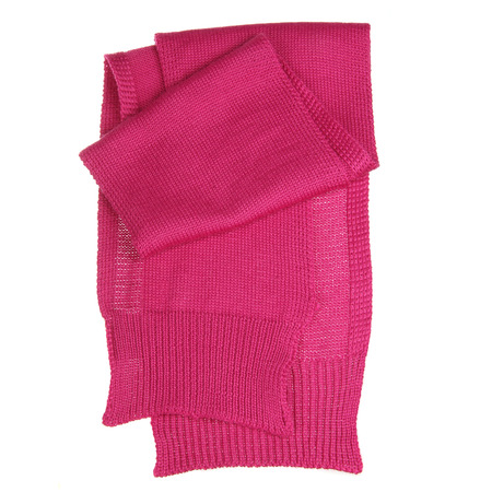 Pink woolen scarf isolated on white photo
