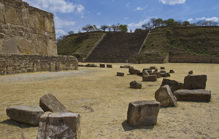 The pyramid and the ruins of Monte Alban, Oaxaca, Mexico photo