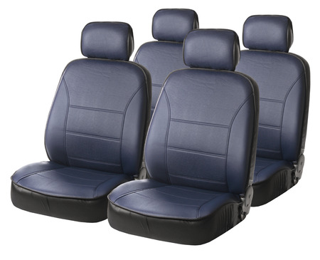 set of blue car seats isolated on white