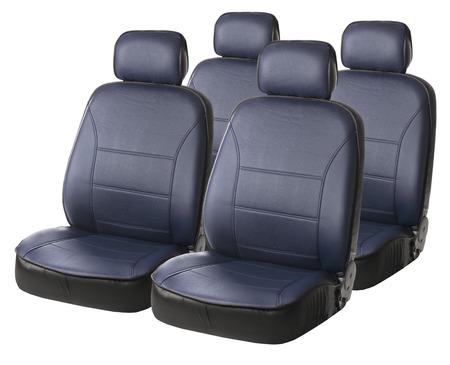 headrest: set of blue car seats isolated on white
