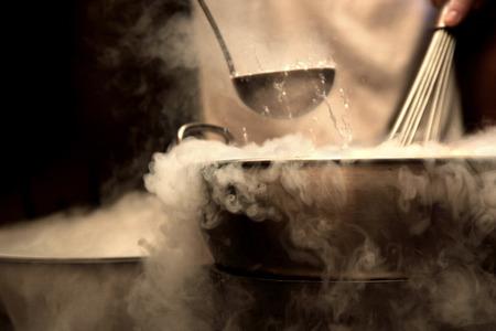 dense steam over cooking pot
