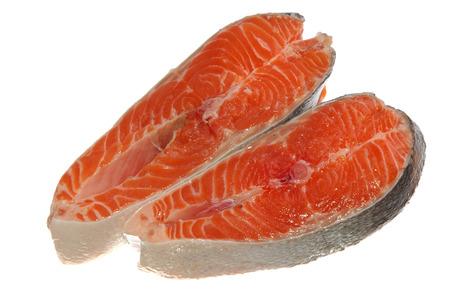 fresh raw salmon isolated on white photo
