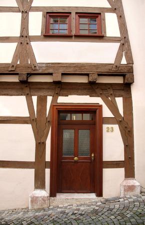 fachwerk: beautiful facade of restored  Fachwerk building in Germany