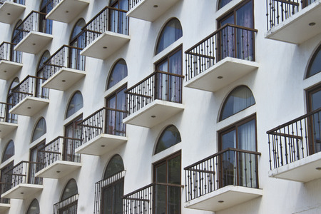 Cosy balconies of a modern building Stock Photo