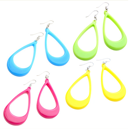 set of colourful plastic earrings isolated on white background Stock Photo