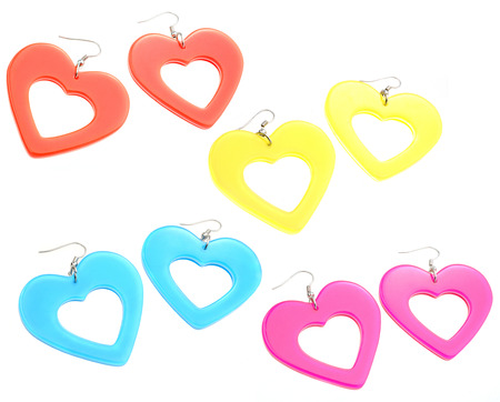 plastic heart: set of colourful plastic heart shaped earrings isolated on white background