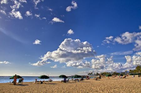 honolulu: sunny beach in Honolulu, Hawaii Stock Photo