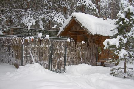 Kleine Log Hütte für Hühner im Wintergarten