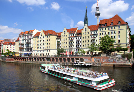 spree: touristic boat on Spree River, Berlin, Germany Editorial
