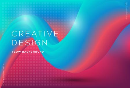 3d flow dynamic shapes composition with gradient color background Illustration