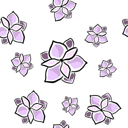 Magnolia seamless pattern on white. Hand drawn Vector