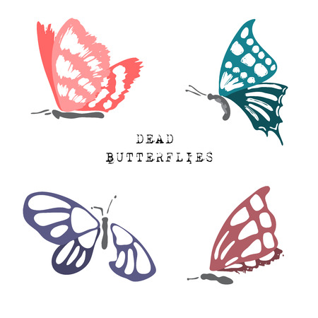 invertebrate: Set of dead butterflies. Hand painted dead butterflies isolated on white