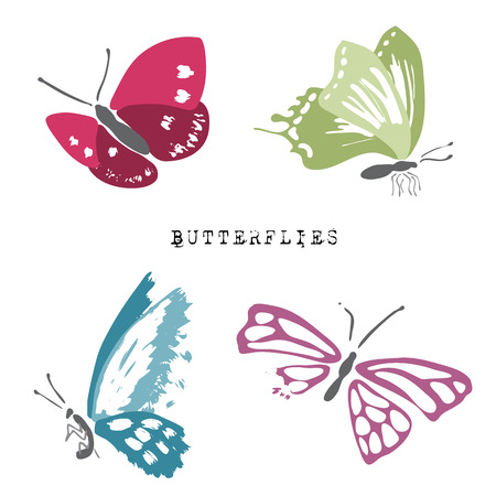 invertebrate: Set of dead and alive butterflies. 2 dead and 2 alive butterflies Illustration