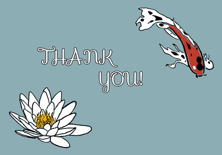 koi carp: Thank you card with red koi carp and water lily Illustration