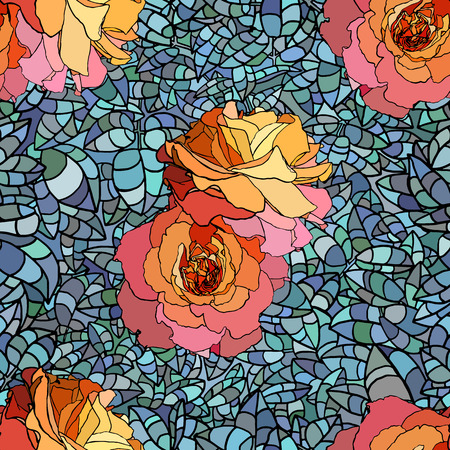 orange roses: Stained glass style pattern with orange roses and blue leaves, hand drawn Illustration