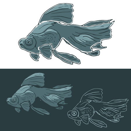 black moor: Black Moor Goldfish. Hand drawn vector set of floating fish. Serene scene with floating cyan fish