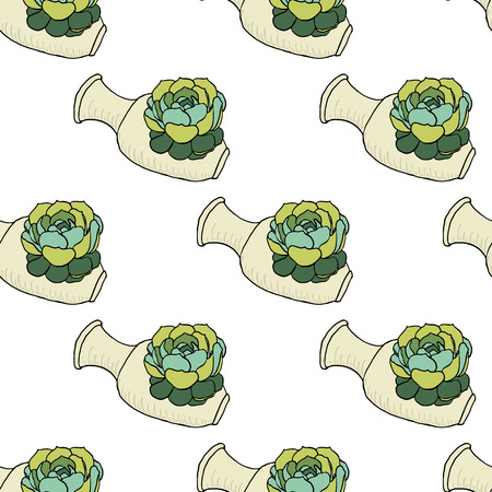 planter: Seamless pattern with hand drawn green cactus and ceramic vase isolated on white