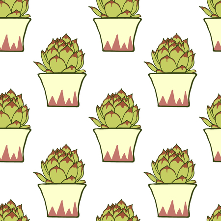 potter: Seamless pattern with hand drawn green cactus in ceramic planter isolated on white