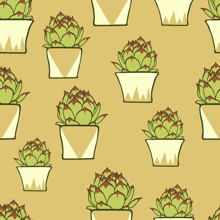 potter: Seamless pattern with hand drawn green cactus in ceramic planter on pink background