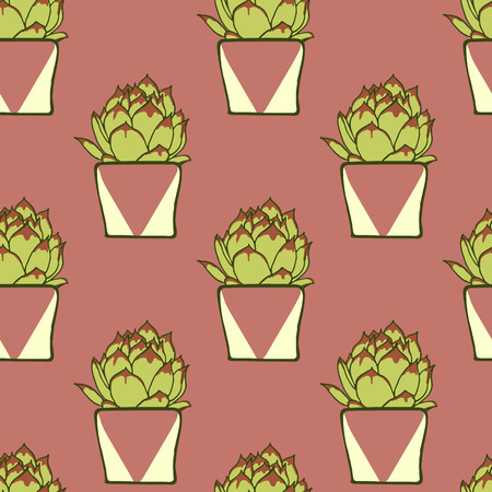 planter: Seamless pattern with hand drawn green cactus in ceramic planter on pink background