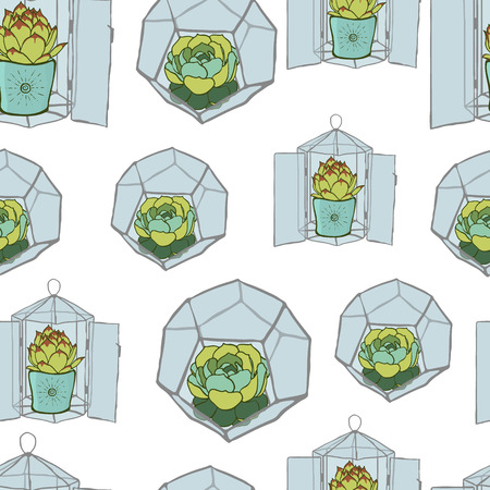 terrarium: Seamless pattern with hand drawn green cactus and geometric glass terrarium. Stainedglass terrarium with succulent. Modern style florarium