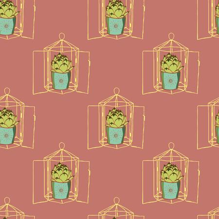 dessin fleur: Vintage seamless hand drawn vert cactus et géométrique terrarium en verre. Vitraux terrarium avec succulente. florarium de style moderne
