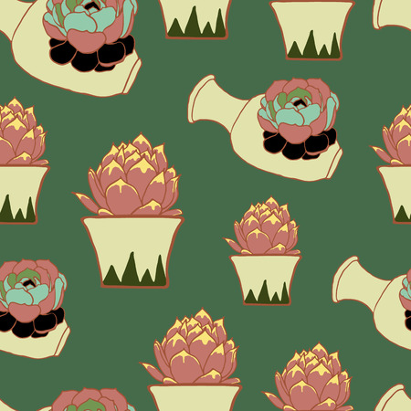 potter: Vintage seamless pattern with hand drawn pink cactus and ceramic vase on green background Illustration
