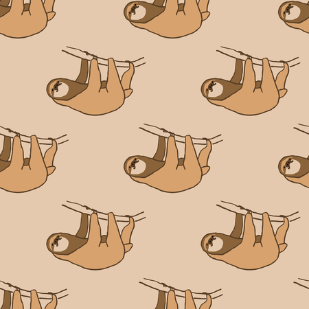 Seamless pattern with cute hanging sloth. illustration of relaxed and happy animal. pattren on light brown background Иллюстрация